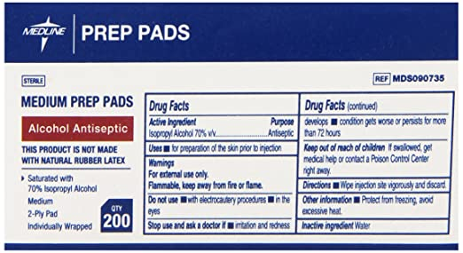 Medline Sterile Medium Prep Pads 70% Isopropyl Alcohol Antiseptic 200 Count