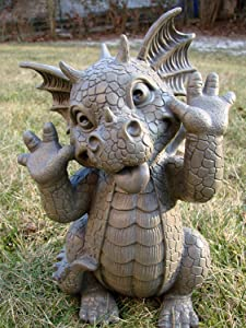 """Ebros Whimsical Garden Dragon Making Funny Faces Statue 10.25"""" H Cute Baby Dragon Faux Stone Resin Finish Figurine Dungeons and Dragons Mythical Fantasy Sculpture Guest Greeter Home Decor"""