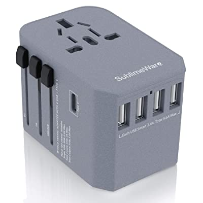 Power Plug Adapter - International Travel (w/5 USB Ports and USB Type C)- Work 150+ Countries - 220 Volt Adapter - Travel Adapter - Type C A G I A/C - UK Japan China Europe: Electronics