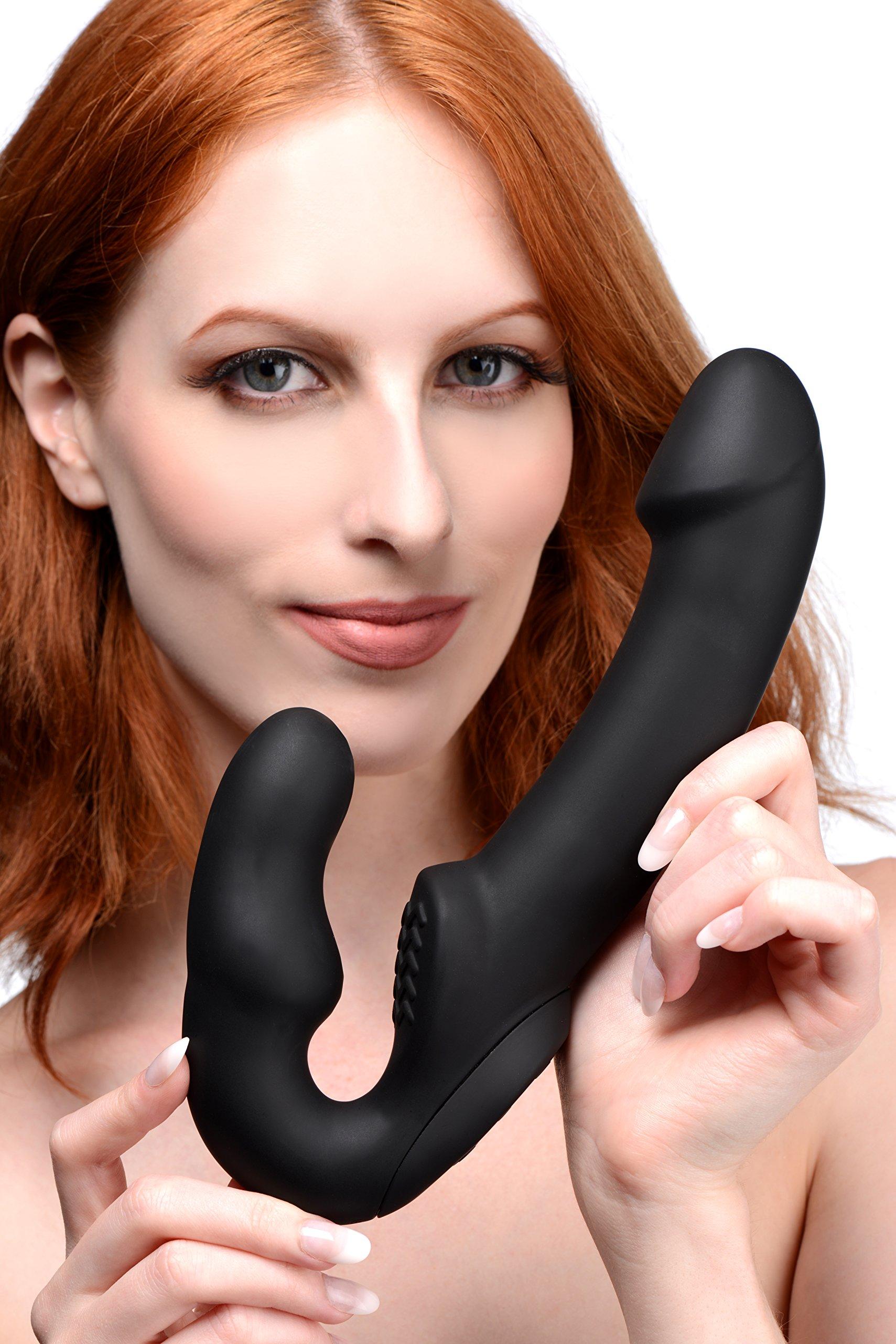 Strap U Evoke Rechargeable Vibrating Silicone Strapless Strap On, Black