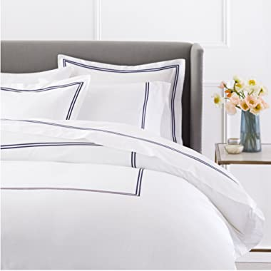 Pinzon 400 Thread Count Egyptian Cotton Sateen Hotel Stitch Duvet Cover - Full or Queen, Navy Blue