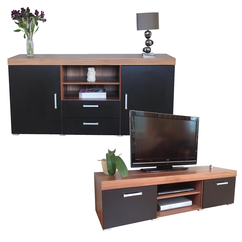 Walnut Living Room Furniture Sets Graphite Walnut Sydney Large Sideboard Tv Cabinet 140cm Unit
