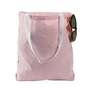 Amazon.com : LARGE LIGHT PINK CANVAS TOTE BAG (1 DOZEN) - BULK ...