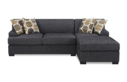 BOBKONA Benford 2 Piece Chaise Loveseat Sectional Sofa Collection With Faux  Linen, Ash Black