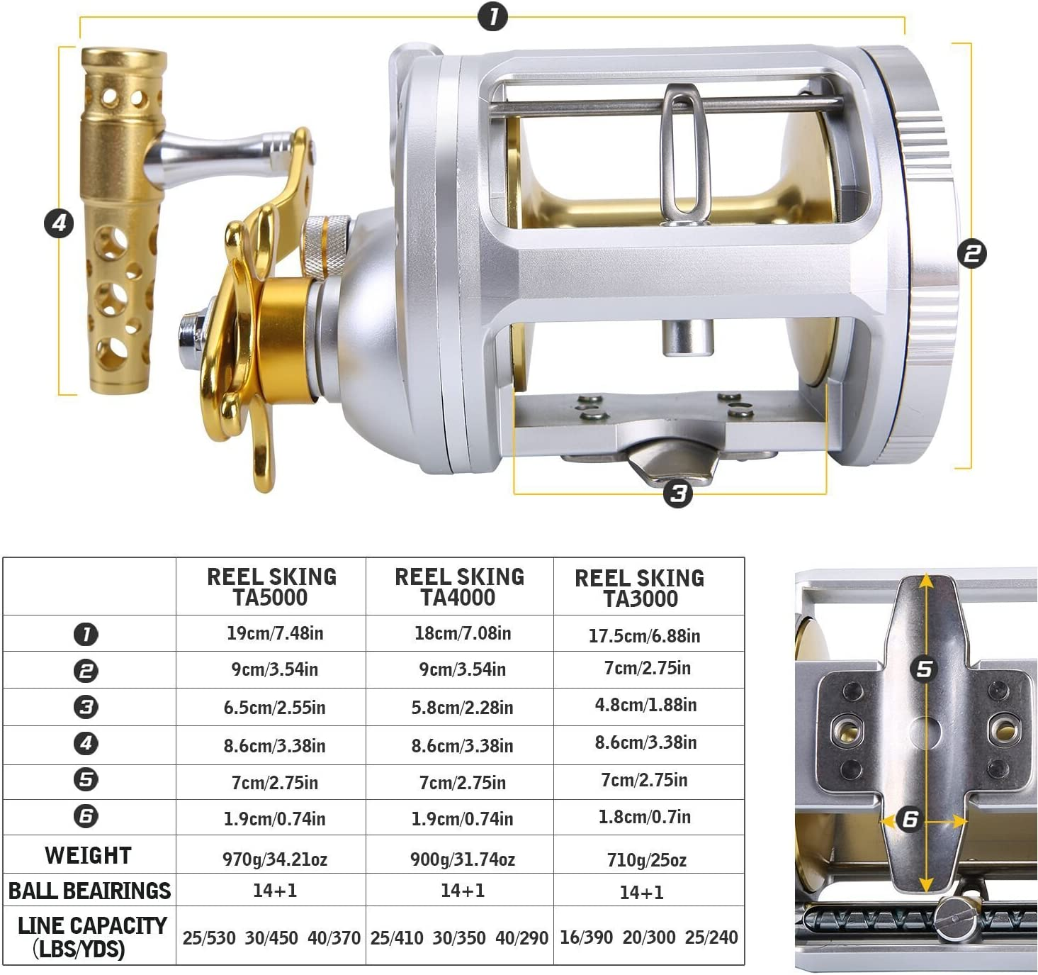 One Bass Fishing Reels Level Wind Trolling Reel Conventional Jigging Reel for Saltwater Big Game Fishing-Right Handed