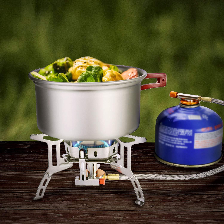 mochilero Picnic Estufa Plegable de Acero con Encendido piezoel/éctrico Mini Estufa de Gas Ultraligera y Duradera Senderismo Odoland Mini Estufa de Camping