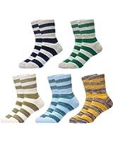 Epeius Kids Girls' 5 Pack No Seam Rainbow Stripes Crew Socks
