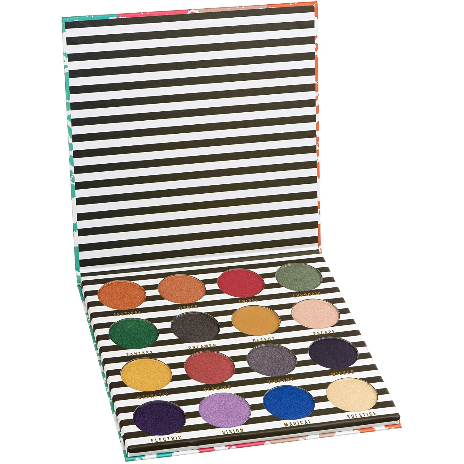 Color Story Women's Cosmetics FESTIVE FEEL Pressed Pigment Eyeshadow Palette – 16 Bold Shimmer & Matte Shades