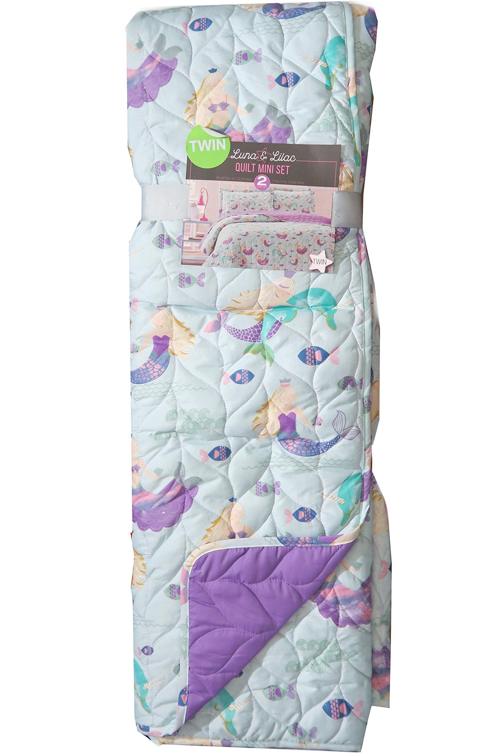 Luna & Lilac Kids Turqouise Mermaids and Narwhals Bedding Quilt Set (Twin)
