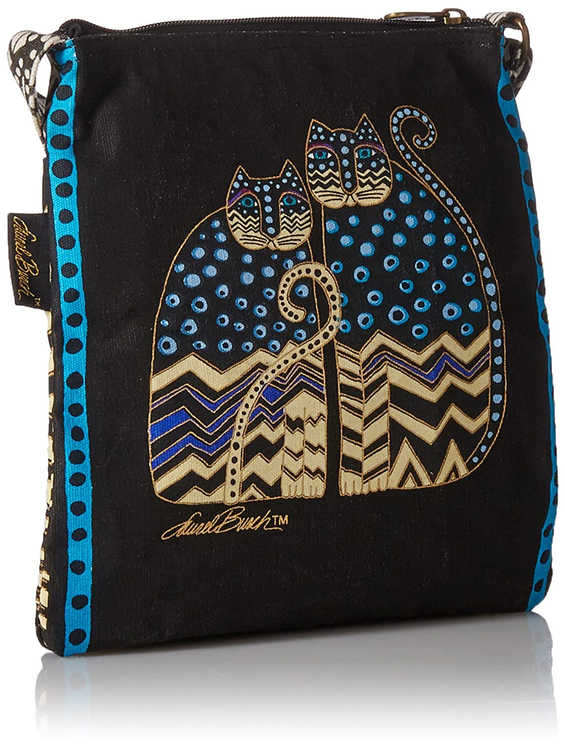 Laurel Burch LB4315 Crossbody Tote with Zipper Top Spotted Cats