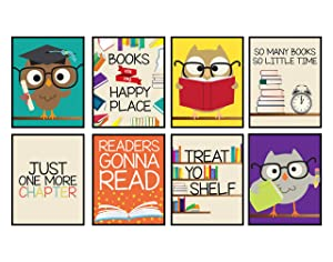 Books are My Happy Place Set of Wall Decor Art Prints 8x10 Size (Set of 8) Reading Owl