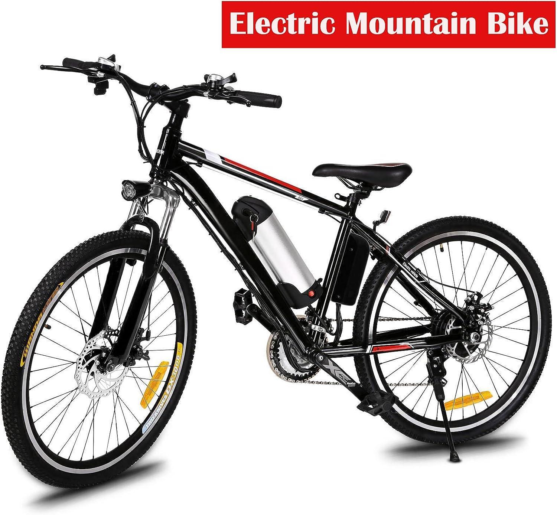 Pesters 電動マウンテンバイク メンズ 26インチ ダウンヒル マウンテンバイク 取り外し可能 大容量 リチウムイオンバッテリー (36V 250W) 26速 サスペンションフォーク E-バイク (米国在庫) Electric Mountain Bike