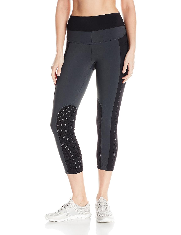 Charcoal white black Womens Perforated Capri Legging Leggings