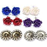 Set of 4 Rose Flower Stud Earrings, Boxed Gift Set for Women