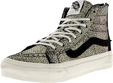 8f23f86c3c Vans Unisex Sk8-Hi Slim Zip Gold Dots Skate Shoes-Gold Black-5-Women ...
