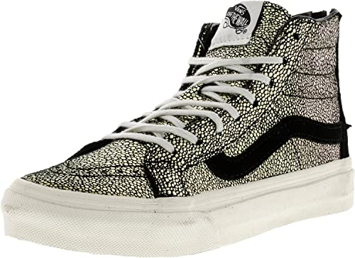 37556f4a54756 Vans Women's Sk8-Hi Slim Zip Gold Dots High-Top Skateboarding Shoe