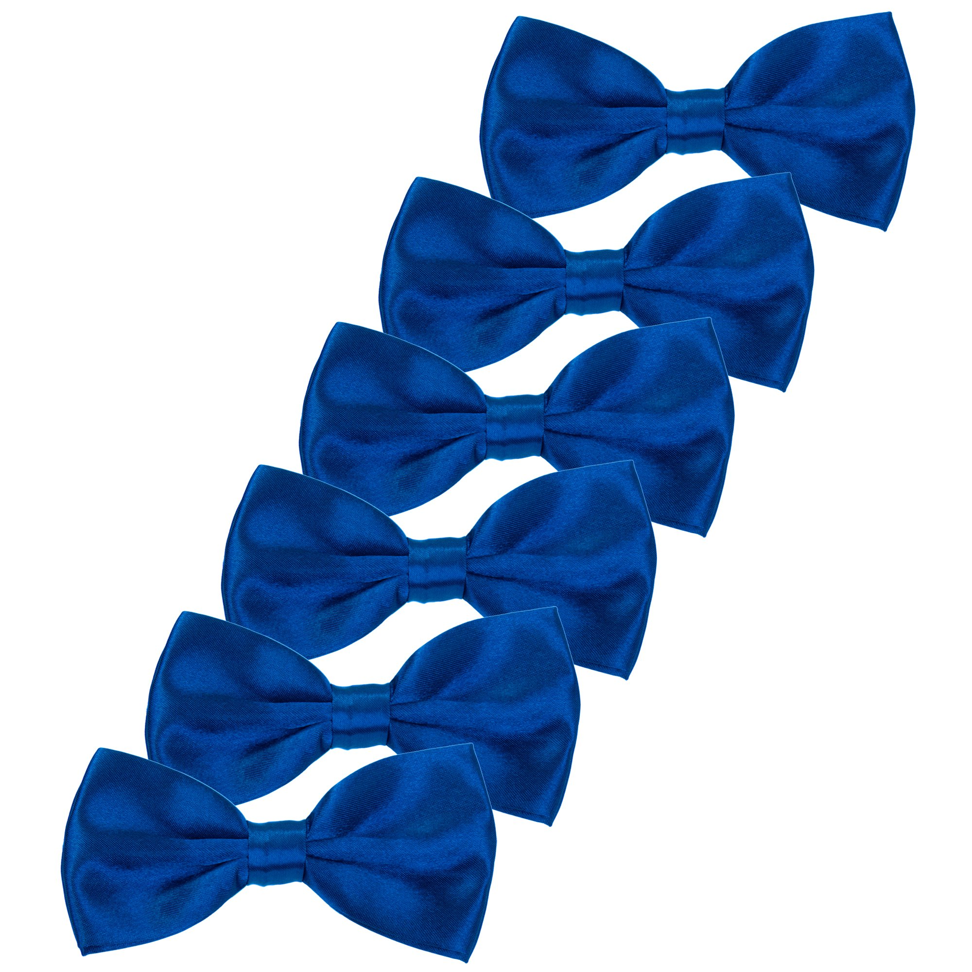 Boys Children Formal Bow Ties - 6 Pack of Solid Color Adjustable Pre Tied Bowties for Wedding Party (Royal Blue) by Kajeer (Image #1)