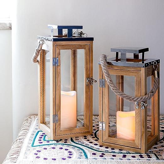 5 opinioni per Lanterna in legno con candela LED a pile e manico di corda – Grande di