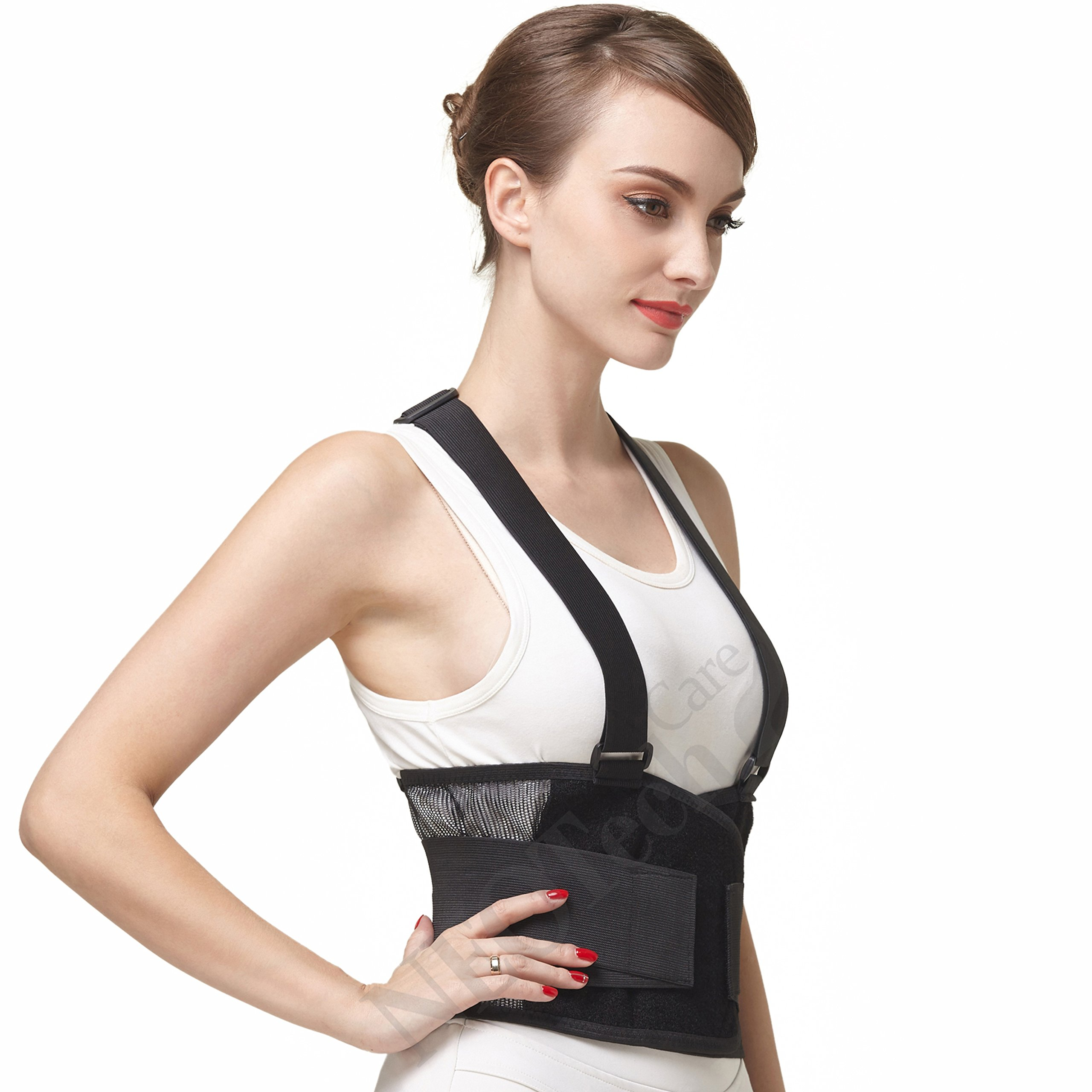 Back Brace with Suspenders/Shoulder Straps - Light & Breathable - Lumbar Support Belt for Lower Back Pain - Posture, Work, Gym - Neotech Care Brand - Black Color - Size S