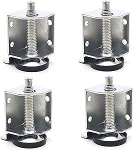 "Tulead Metal Leveler Legs Heavy Duty Furniture L Shape Adjustable Leveling Feet for Cabinet,Drawer,Table (2-1/2"",4PCS)"
