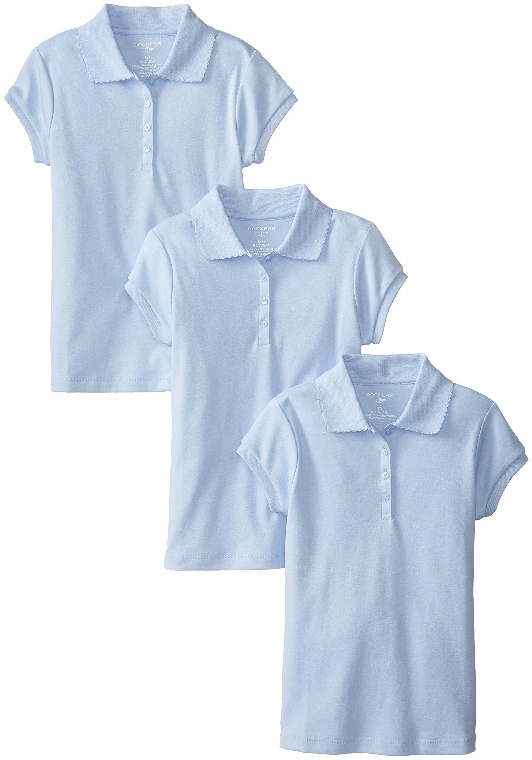 Dockers Big Girls' Plus-Size Uniform 3 Pack Short Sleeve Polo Bundle, Light Blue, Large