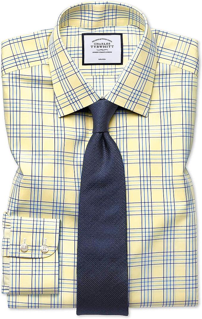 Charles Tyrwhitt Camisa Amarilla de Corte clásico a Cuadros ...