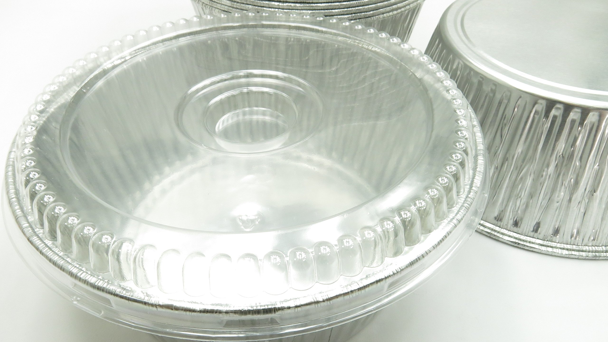 Handi-Foil Disposable Aluminum Extra Deep 10'' Round All Purpose Baking Pan With Clear Dome Lid#1600P (10)