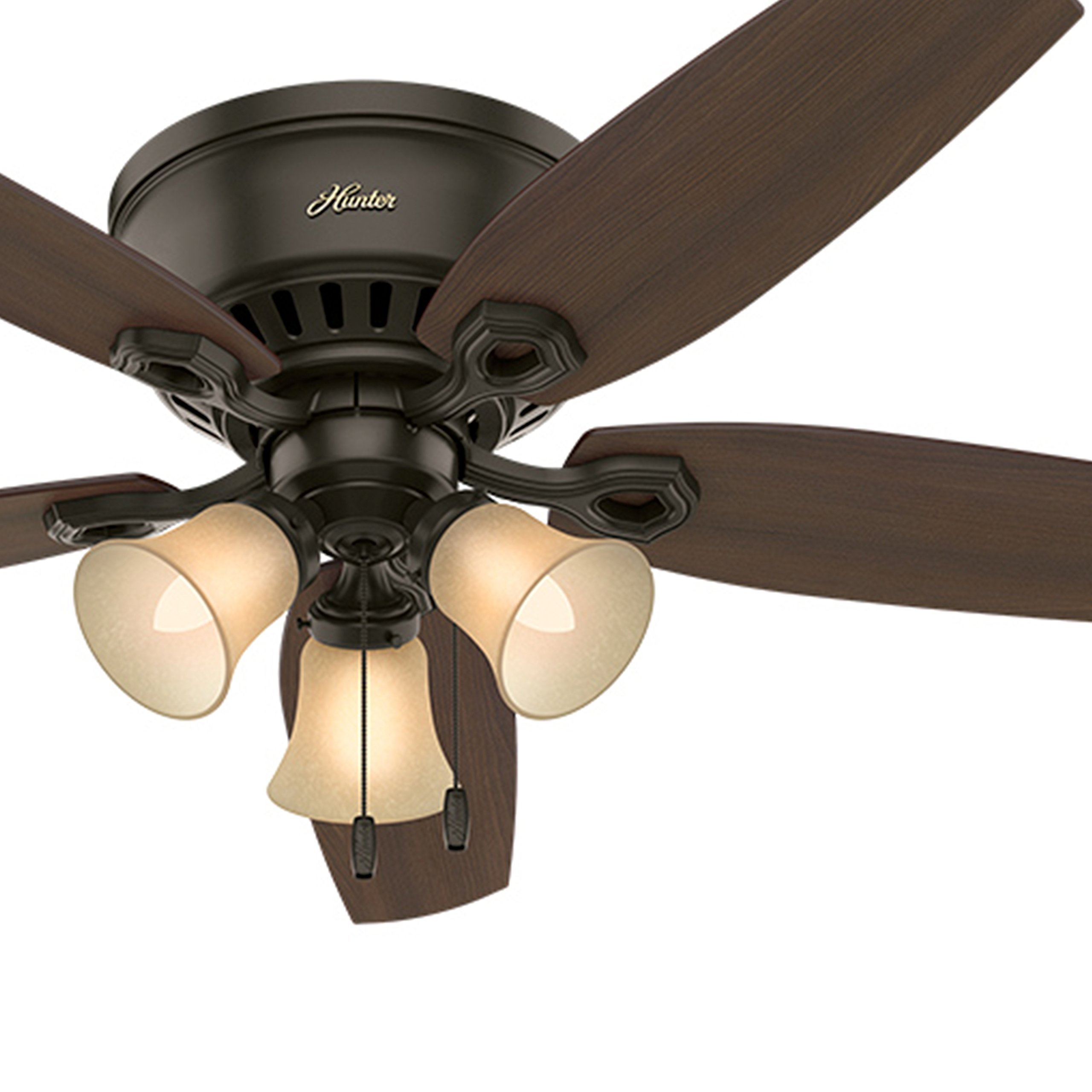 Hunter Fan 52'' Low Profile Ceiling Fan in New Bronze with Toffee Glass Light Kit, 5 Blade (Certified Refurbished) by Hunter Fan Company