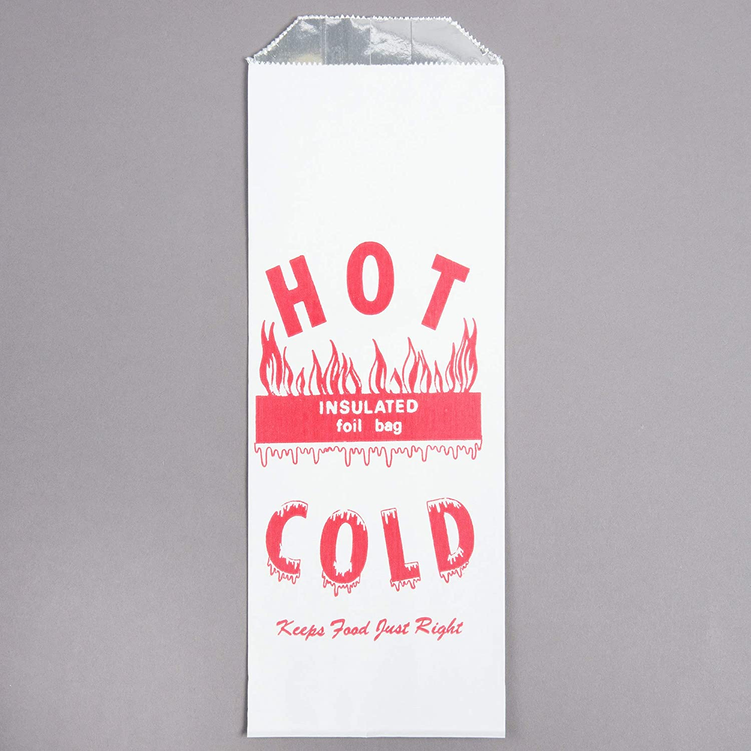 (Printed, White Foil - Hot/Cold, Pint, Case of 1000) tekbotic Disposable to Go Hot Food Bags/Wrappers/Sleeves