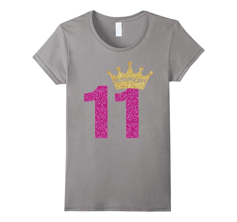 11th Birthday Girl Pink Glitter Inspired Princess T-Shirt-BN