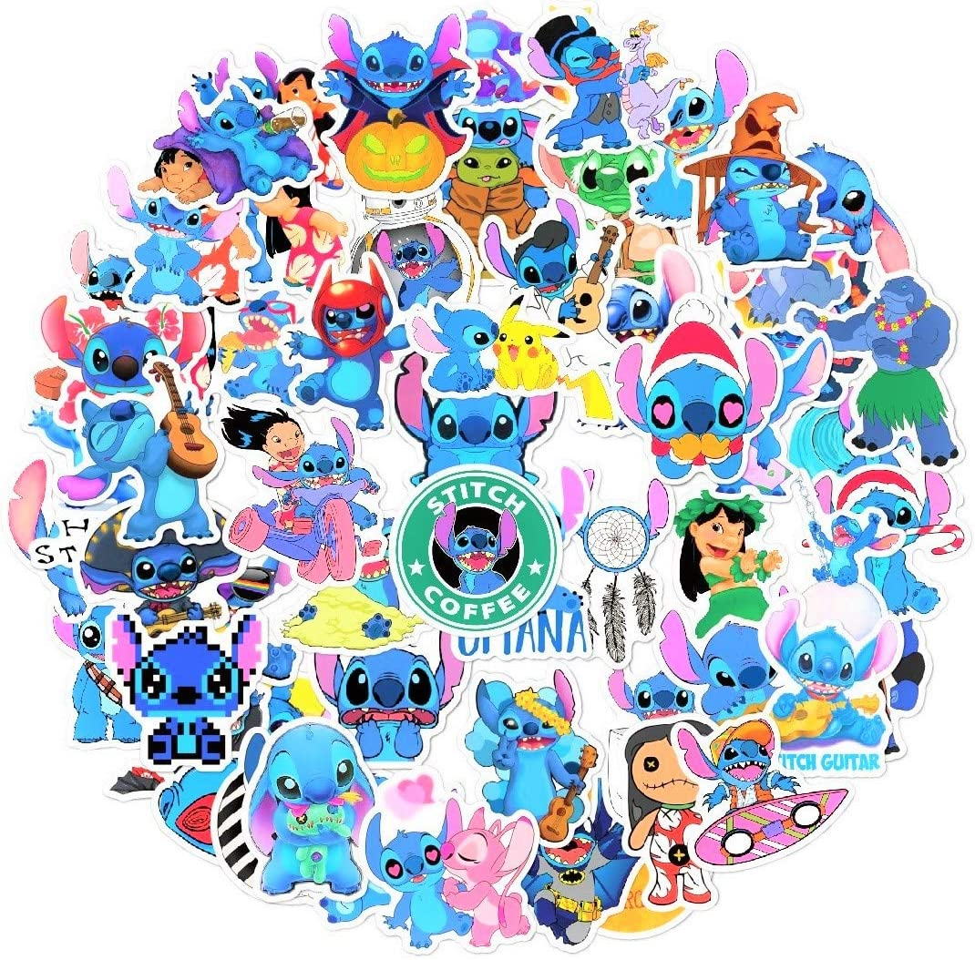 58pcs Cartoon Lilo & Stitch Laptop Vinyl Stickers Merchandise car Sticker for Snowboard Motorcycle Bicycle Phone Computer DIY Keyboard Car Window Bumper Wall Luggage Decal Graffiti Patches