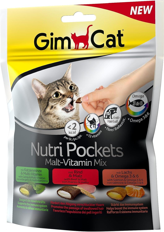 GimCat Nutri Pockets – Snack crujiente para gatos: provisto de relleno cremoso e ingredientes funcionales – Sin azúcar añadido – Mezcla de malta y vitaminas – 1 bolsa (1 x 150 g)