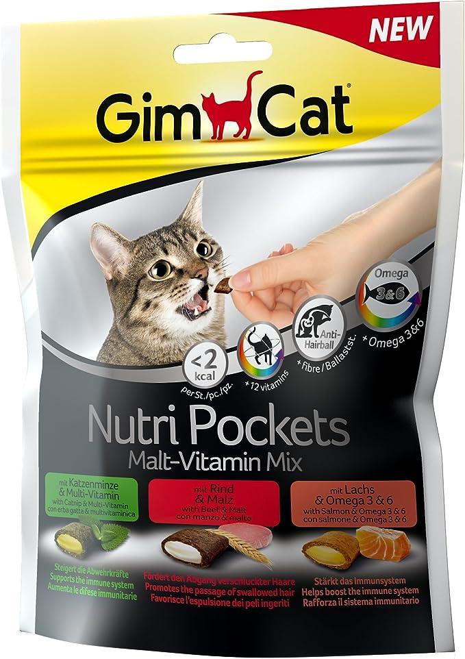 GimCat Nutri Pockets – Snack crujiente para gatos: provisto de relleno cremoso e ingredientes funcionales – Sin azúcar añadido – Mezcla de malta y vitaminas – 1 bolsa (1 x 150 g): Amazon.es: Productos para mascotas
