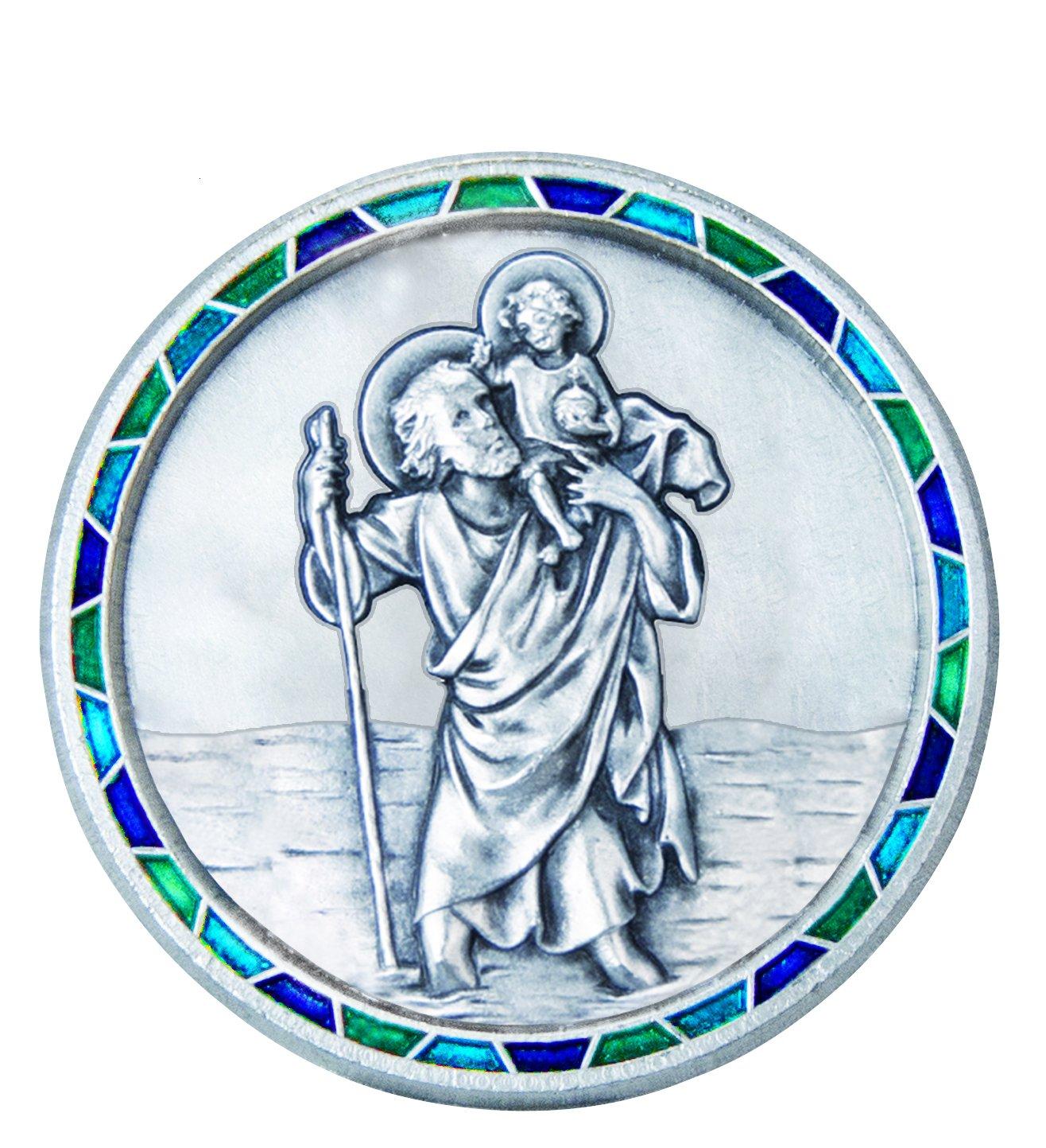 Fritz Cox Automedaille Christophorus Modern mit Mosaik-Rand Blau