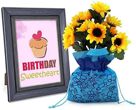 Buy Tied Ribbons Greeting Card With Artificial Sunflower Sack
