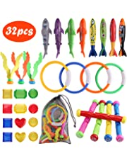 Kids Pool Toys, Satkago 32Pcs Underwater Swimming Diving Pool Toy Set with 5 Diving Sticks, 4 Diving Torpedo, 4 Diving Shark Toy, 4 Diving Ring, 3 Seaweed, 12 Pirate Treasures and Storage Pouch