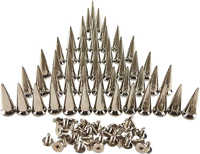 Silver screwback cone spikes 16mm Bag of 20 58 Leathercraft or glue-on StudsAndSpikes