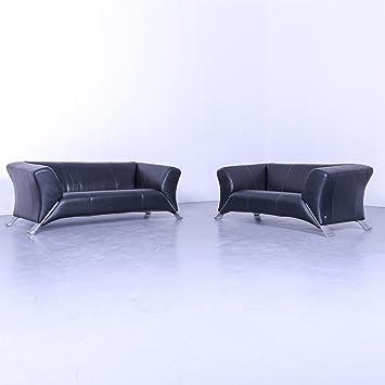 Amazon.de: Rolf Benz 322 Designer Leder Sofa Garnitur Schwarz ...