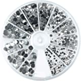 Rayher, 15130801, Set di brillantini decorativi con strass Hotfix, 2-5 mm, in cristallo di rocca, 580 pz.