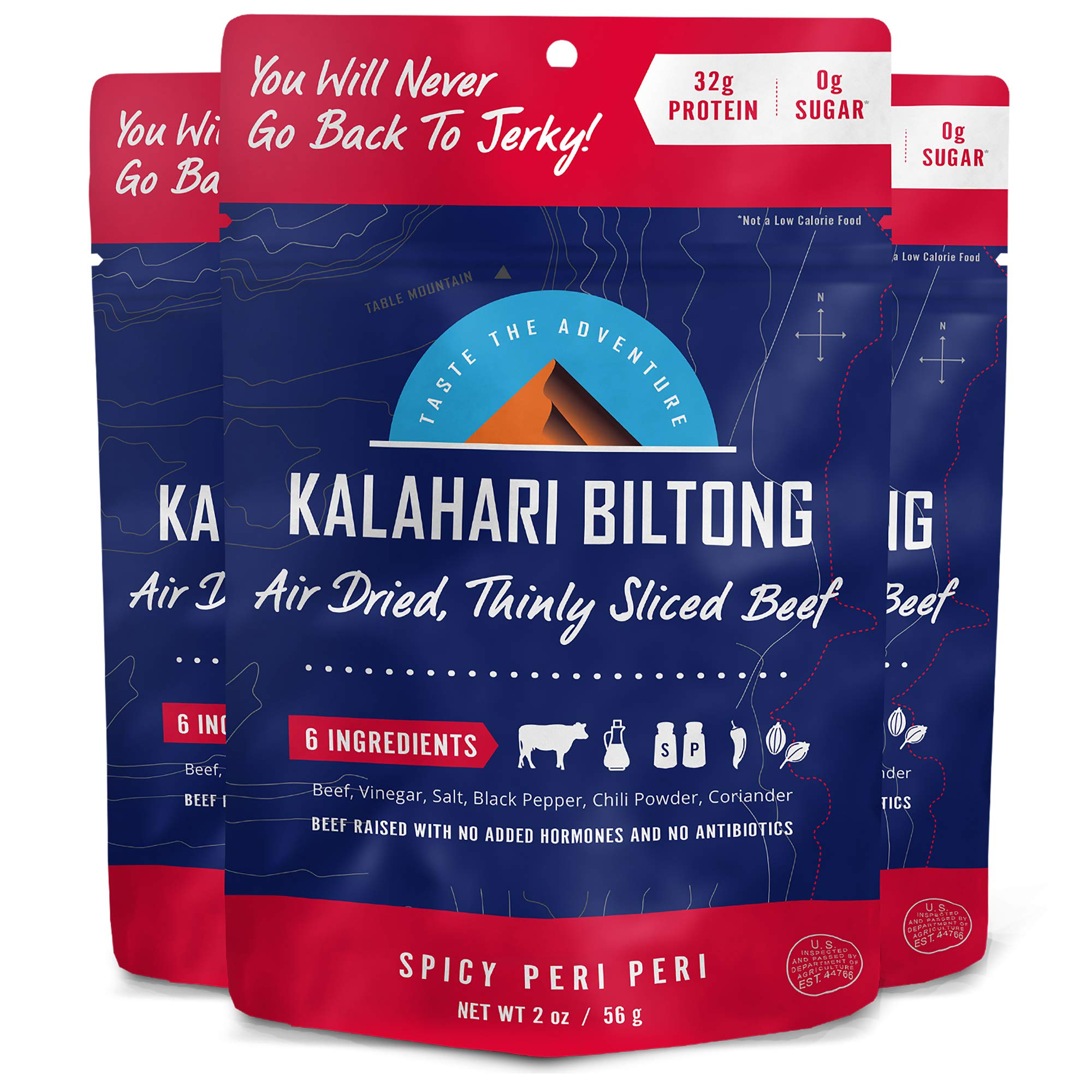 Kalahari Biltong | Air-Dried Thinly Sliced Beef | Spicy Peri Peri | 2oz (Pack of 3) | Zero Sugar | Keto & Paleo | Gluten Free | Better than Jerky