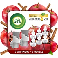 Air Wick Plug in Scented Oil Starter Kit, 2 Warmers + 6 Refills, Apple Cinnamon, Fall scent, Fall spray, Eco Friendly…