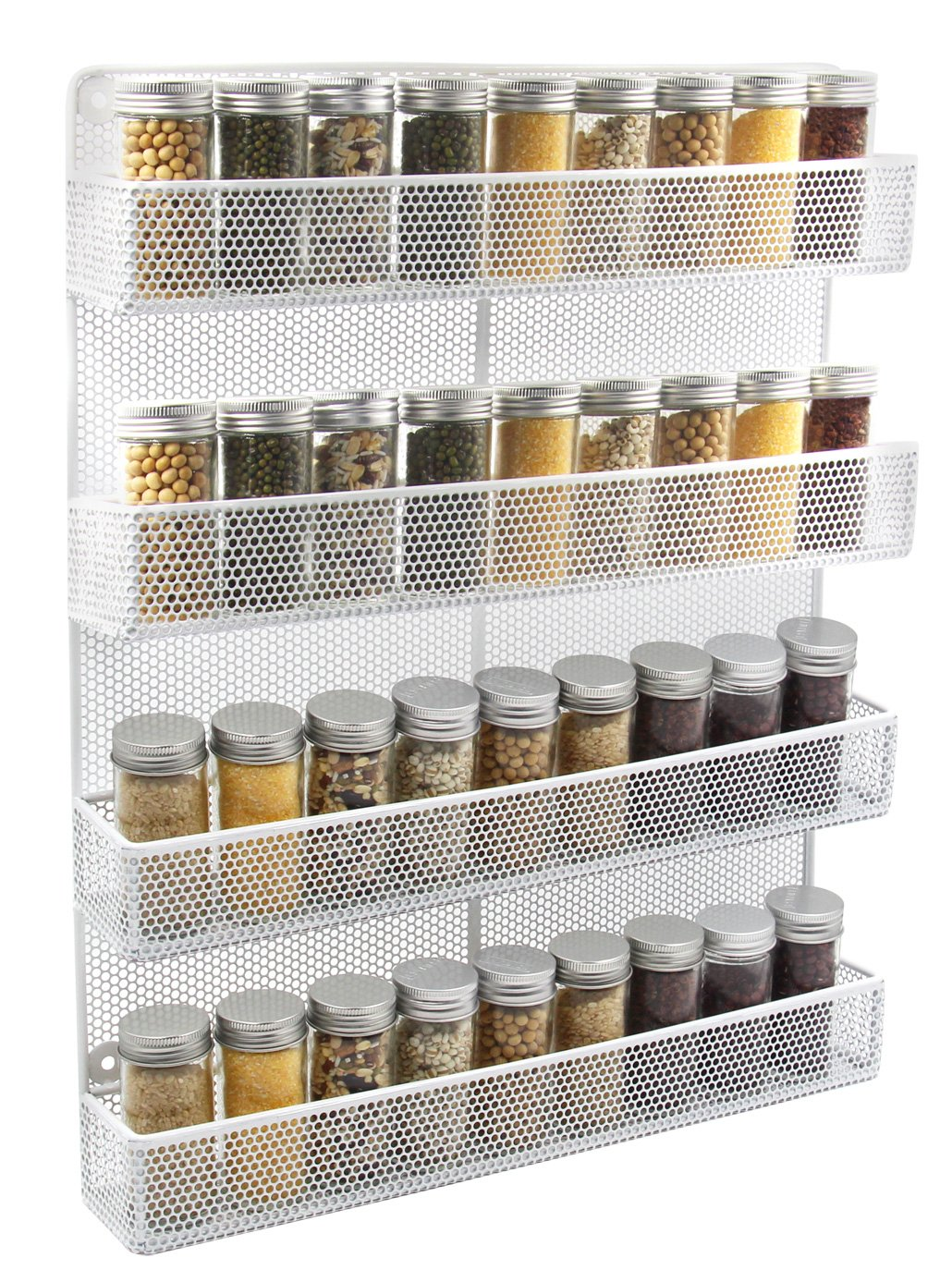 Amazon.com: ESYLIFE 4 Tier Wall Mount Spice Rack Organizer Large Kitchen Spice  Storage Shelf, White: Kitchen & Dining