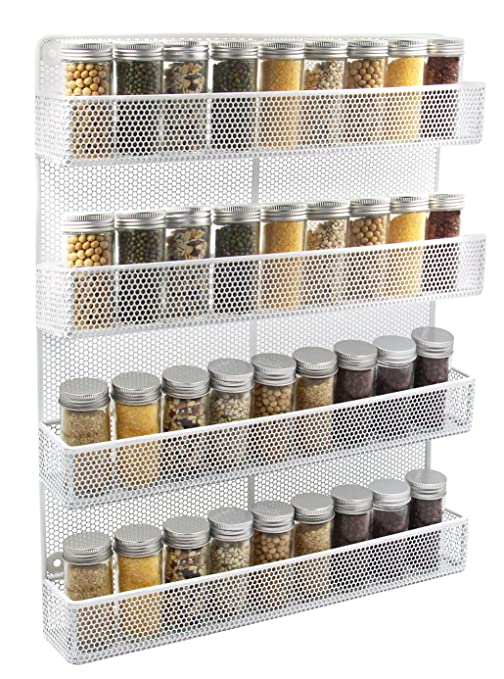 Esylife 4 Tier Wall Mount Spice Rack Organizer Large Kitchen Spice Storage Shelf White