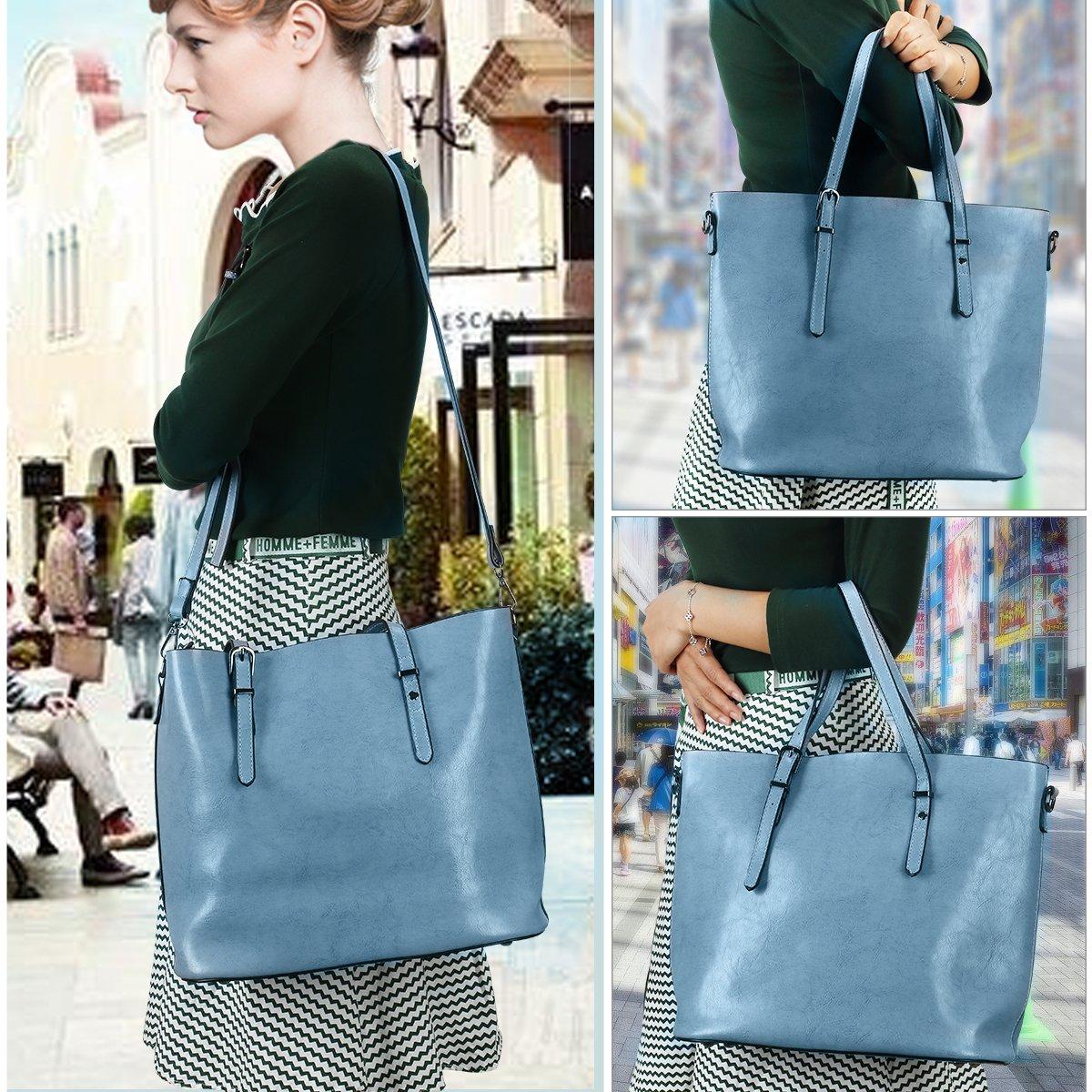 Women Top Handle Satchel Handbags Shoulder Bag Messenger Tote Bag Purse IUKIO (Light Blue) by IUKIO (Image #3)