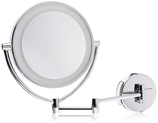 Ovente Wall Mount Mirror with 3 LED Lighting Tones (Daylight, Cool, Warm), 9.5 Inch, Battery or Cord Operated, 1x/10x Magnification, Polished Chrome (MLW95CH1x10x)