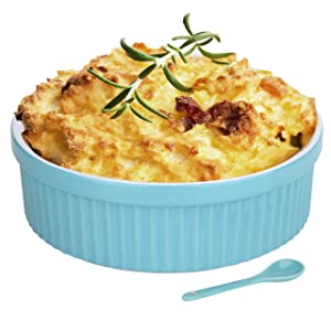 Souffle Dish Ramekins for Baking – 64 Oz, 2 Quart Large Ceramic Oven Safe Round Fluted Bowl with Mini Condiment Spoon for Soufflé Pot Pie Casserole Pasta Roasted Vegetables Desserts (Aqua/Green Set)