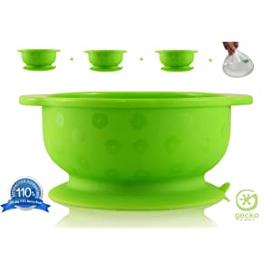 Gecko Grippers - The BEST, Super, SUCTION BOWLS - VALUE PACK of 3 Bowls PLUS Gecko Gripper Mat - Baby - Toddler - Suction Bowl - Best Suction Bowls Guaranteed with Our Unique System - Can Lift a Wooden Dining Table! - Dishwasher, Microwave & Oven Safe - No Spill - Lower Stress - PLUS: 365 Day, 110% Money Back Guarantee