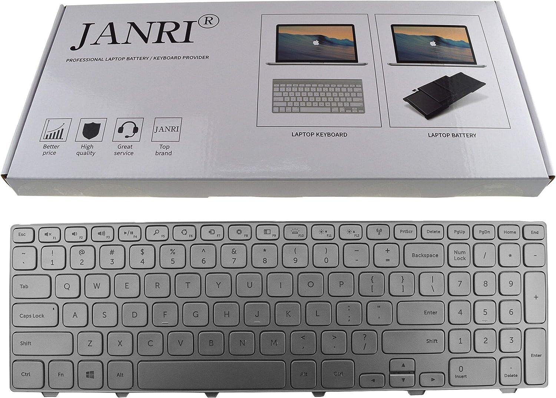 JANRI Replacement Laptop Keyboard with Backlit/Backlight for Dell Inspiron 15-7000 7537 7737 Series Silver US Layout 087YTJ KK7X9 0KK7X9 NSK-LG0BW 9Z.NAUBW.01D MP-13B2