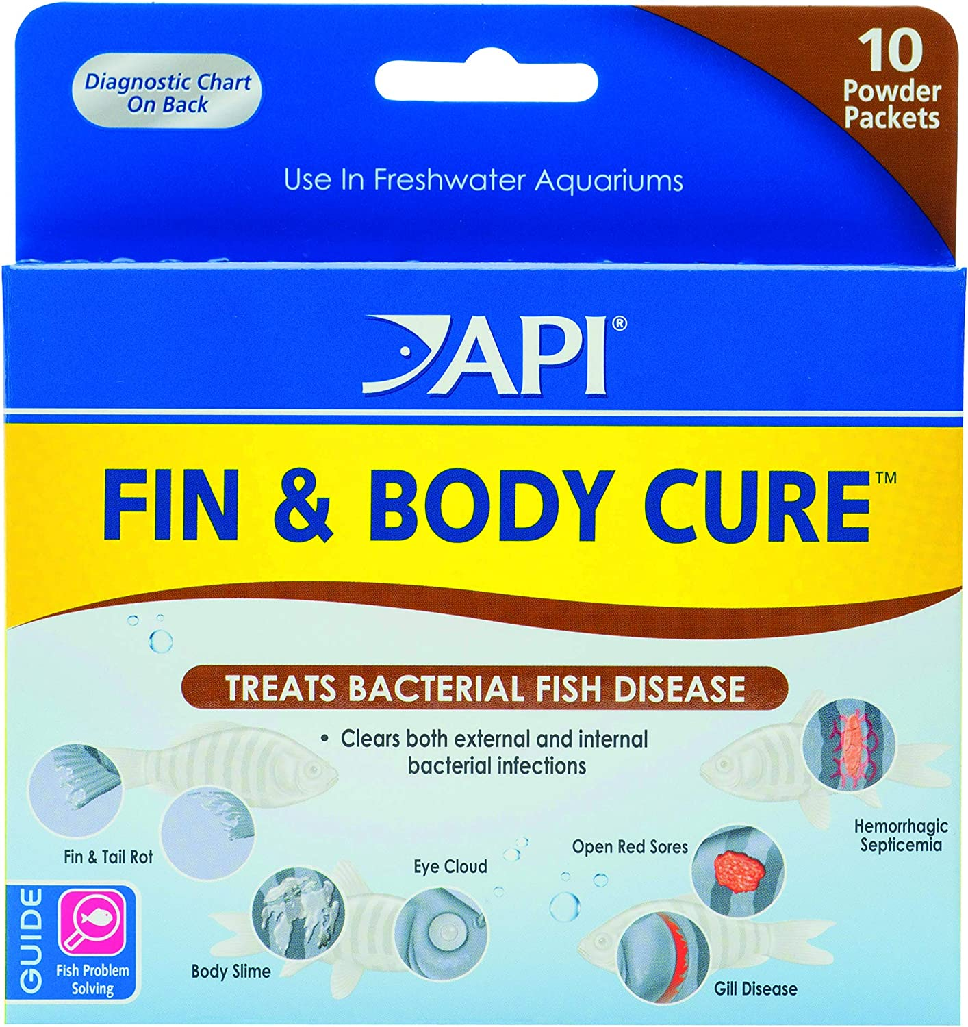 API FIN & BODY CURE Freshwater Fish Powder Medication 10-Count Box