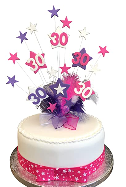 30th Hot Pink, Purple & White Star Birthday Cake Topper With Marabou ...